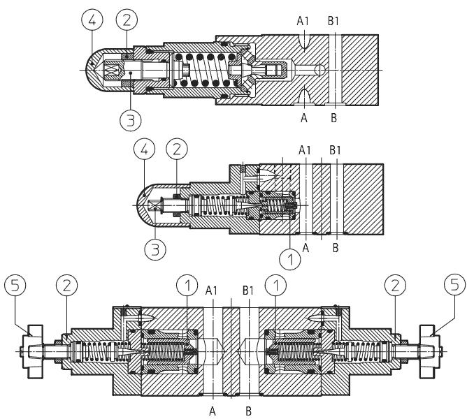 ATOS Модульные предохранительные клапаны HMP, HM, KM  (гидроклапан HMP-011, HM-012, KM-013, НМР-014, НМ-015, КМ-012)
