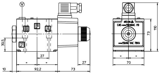 размеры распределителей DKE-1614-X 230/50/60AC, DKE-1631/2-SP667 110/50/60AC, DKE-1632/2-X 230/50/60АС