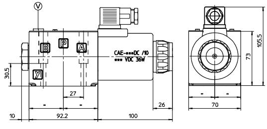 размеры распределителей DKE-1613-X 24DC, DKE-1630/2-X 24DC, DKE-1631/2-X 24DC,  DKE-1632/2-X 24DC
