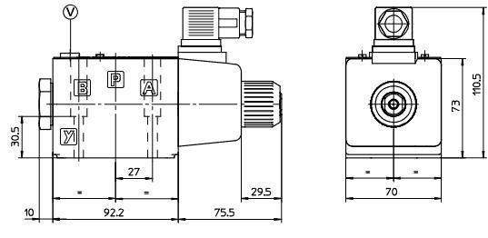 размеры распределителей DKER-1631/2-Х-110/50/60АC, DKER-1630/2-X-110/50/60АC