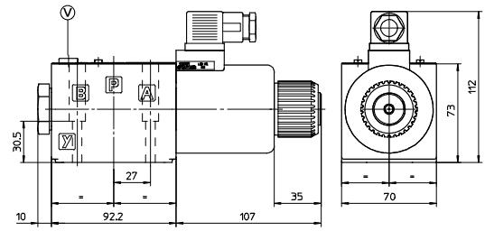 размеры распределителей DKER-1631/2-X 24DC, DKER-1630/2-X 24DC, DKER-1632/2-X 24DC