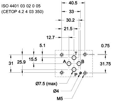 Монтажная поверхность (установочные размеры) дросселей Rexroth Z2FS 6 A2-4X/1QV, Z2FS 6 B2-4X/2QV, Z2FS 6 A2-4X/2QV, Z2FS 6 2-4X/1QV, Z2FS 6 B2-4X/1QV, Z2FS 6 2-4X/2QV