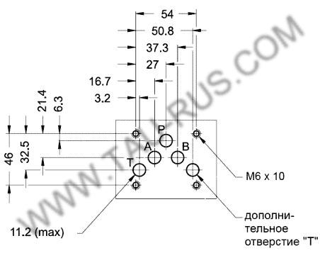 Монтажная поверхность (установочные размеры) гидрораспределителей ВЕ10 14 Г24 (В110, В220), ВЕ10 24 Г24 (В110, В220), ВЕ10 34 Г24 (В110, В220), ВЕ10 44 Г24 (В110, В220), ВЕ10 64 Г24 (В110, В220)