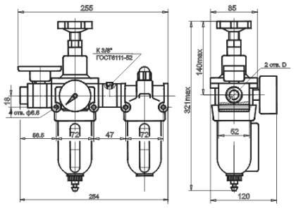 Размеры Блок кондиционирования сжатого воздуха БК-10-1, БК-10-2, БК-16-1, БК-16-2, БК10-1, БК10-2, БК16-1, БК16-2