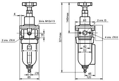 Размеры блок подготовки воздуха П-ФРК (П-ФРК-10-1-1-0, ПФРК-10-1-2-0, П-ФРК-16-1-1-0, ПФРК-16-1-2-0)