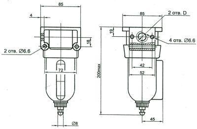 Размеры фильтр-влагоотделитель ПФВ, П-ФВ-10-1, П-ФВ-10-2, П-ФВ-16-1, П-ФВ-16-2
