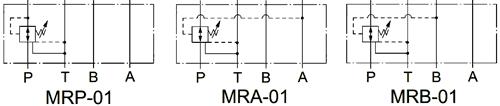 Графическое обозначение клапанов редукционных MRP-01, MRA-01, MRB-01