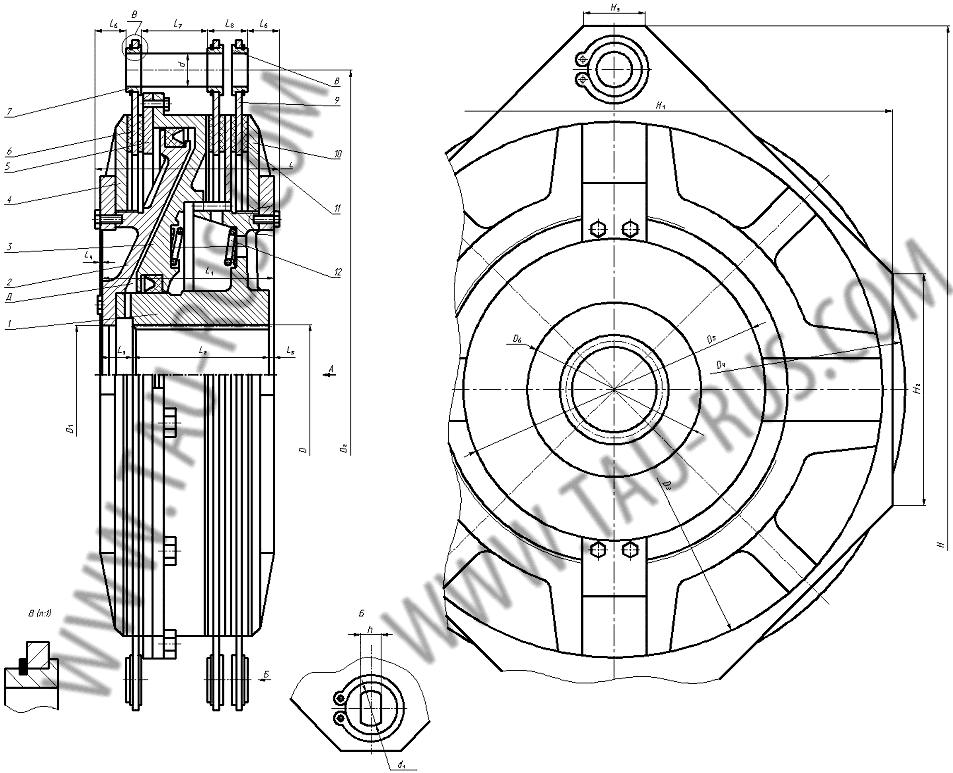 ...тормозной диск 6. Тормозной диск с фрикционными накладками 7,8. Втулки 9. Ведущие диски муфты с фрикционными...